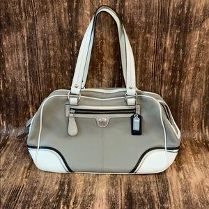 Coach leather shoulder bag gray & white